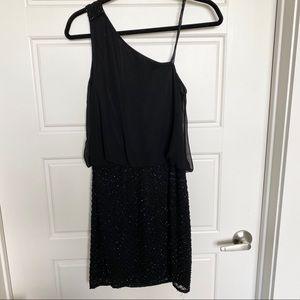 Aidan Mattox Beaded Black One Shoulder Dress 2